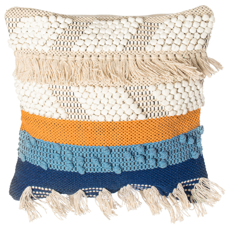 "16"" Boho Handwoven Cotton Throw Pillow Cushion Cover with Tassels, Blue"