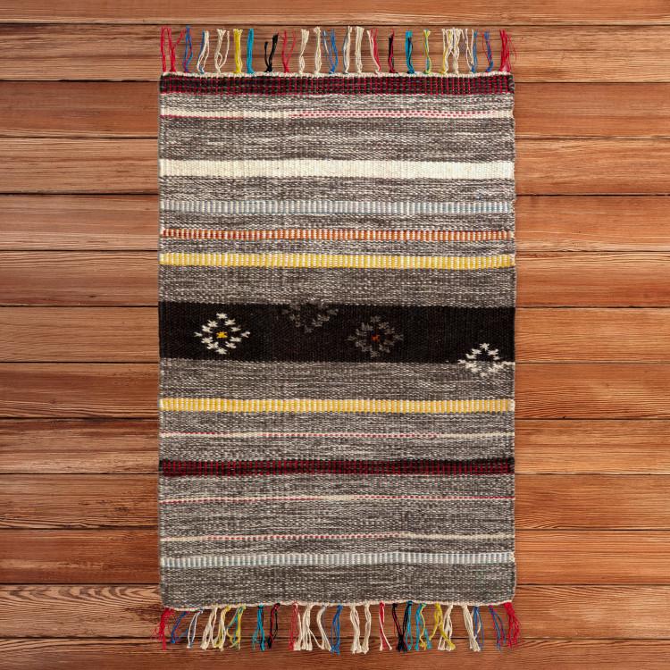 Handwoven Boho Multi Striped Wool Flatweave Kilim Area Rug, 2' x 3'