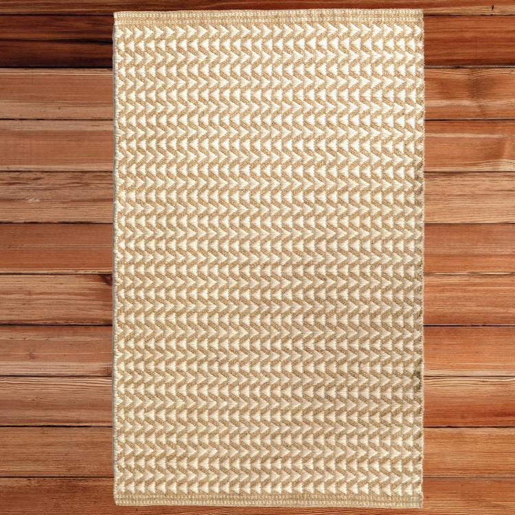 Handwoven Beige and White Geometric Wool Flatweave Kilim Rug, 2' x 3'