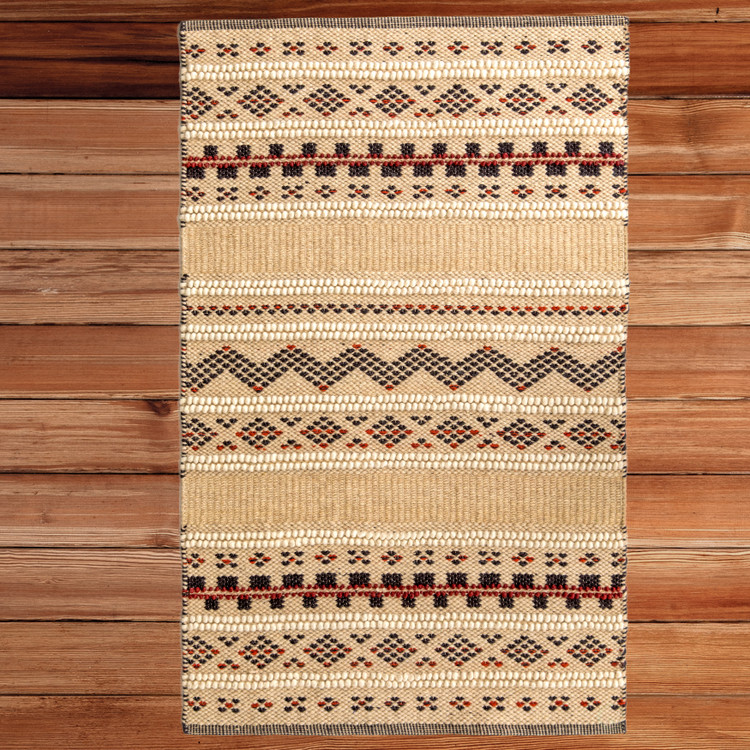 Handwoven Boho Beige Textured 100% Wool Flatweave Kilim Rug