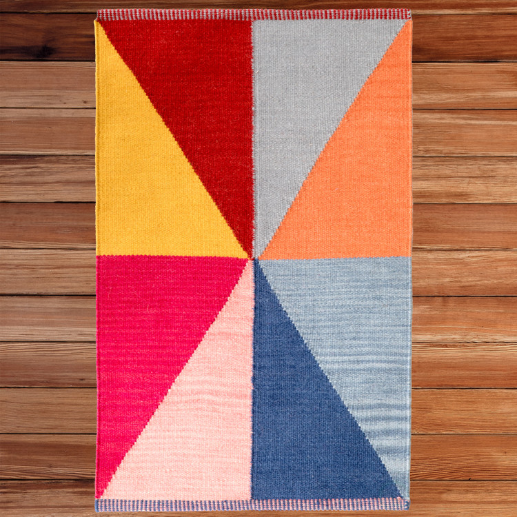 Handwoven Multicolored Geometric Wool Flatweave Kilim Rug, 2' x 3'