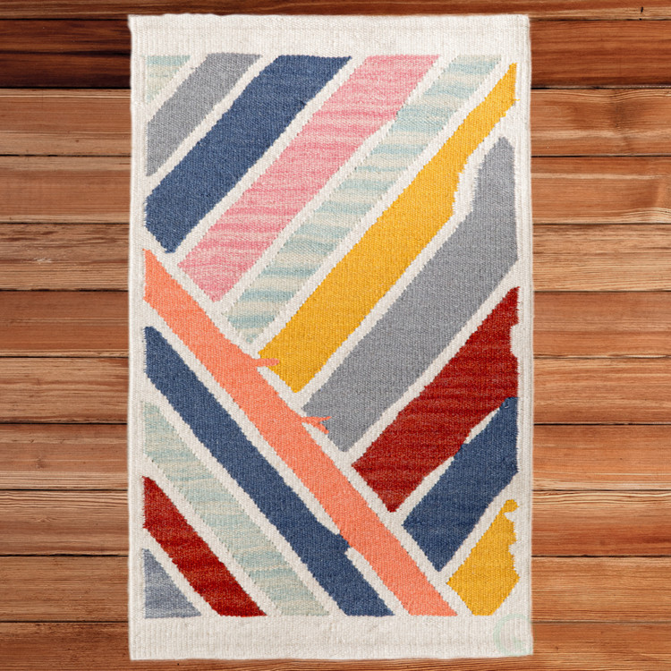 Handwoven Multicolored Abstract Stripes Wool Flatweave Kilim Rug, 2' x 3'