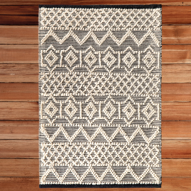 Handwoven Black and White Textured Wool Flatweave Kilim Rug