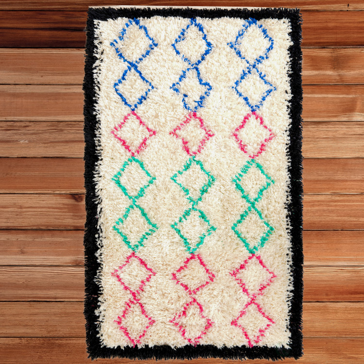 Handwoven Multicolored Geometric Trellis Plush Wool Shag Area Rug, 3' x 5'