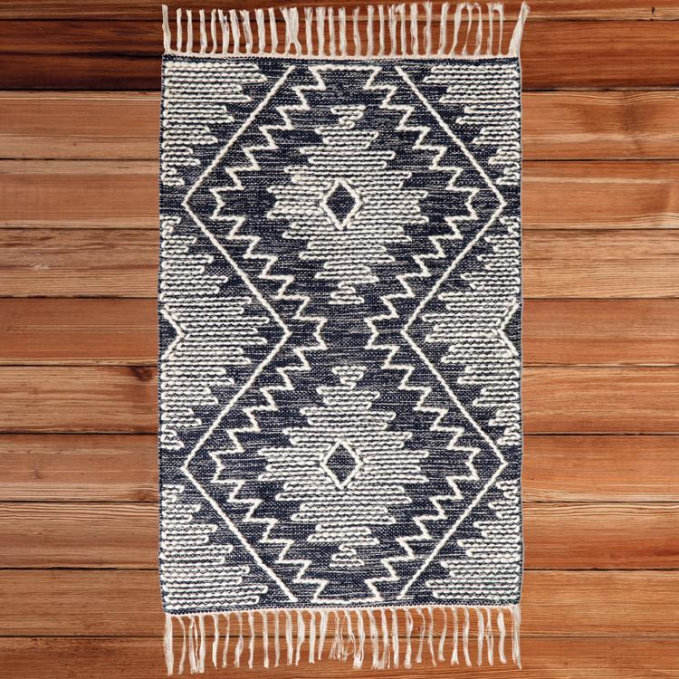 Handwoven Blue Geometric Cotton/Wool Flatweave Kilim Area Rug, 2' x 3'