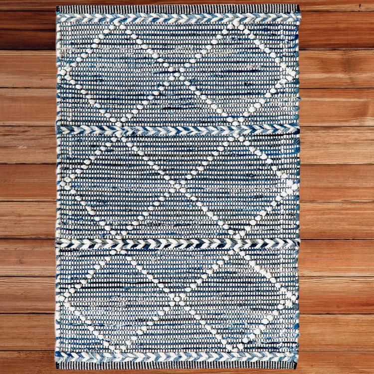 Handknotted Denim Textured Cotton Polyester Flatweave Kilim Rug
