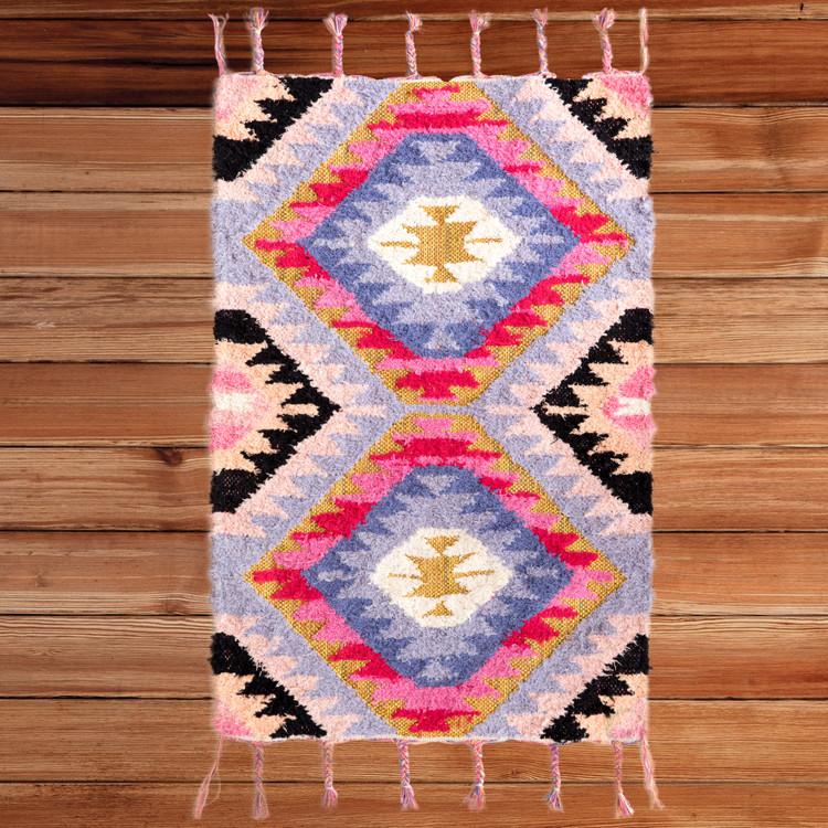 Handwoven Boho Pink Gold Metallic Cotton Flatweave Kilim Area Rug, 2' x 3'