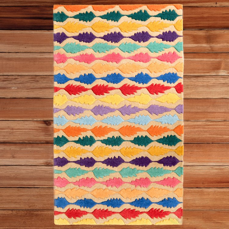Handtufted Multicolored Leaf Design 100% Wool Area Rug, 3' x 5' Rectangle