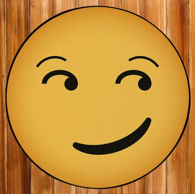 Deerlux Emoji Style Round Funny Smiley Face Kids Area Rug, Smirk Emoji Rug