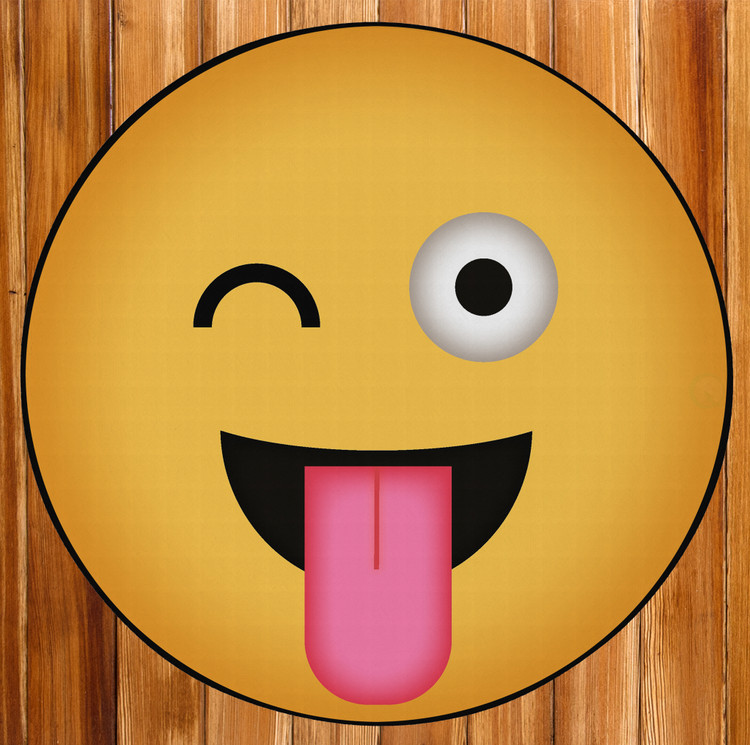 Deerlux Emoji Style Round Funny Smiley Face Kids Area Rug, Winky Tongue Out Emoji Rug