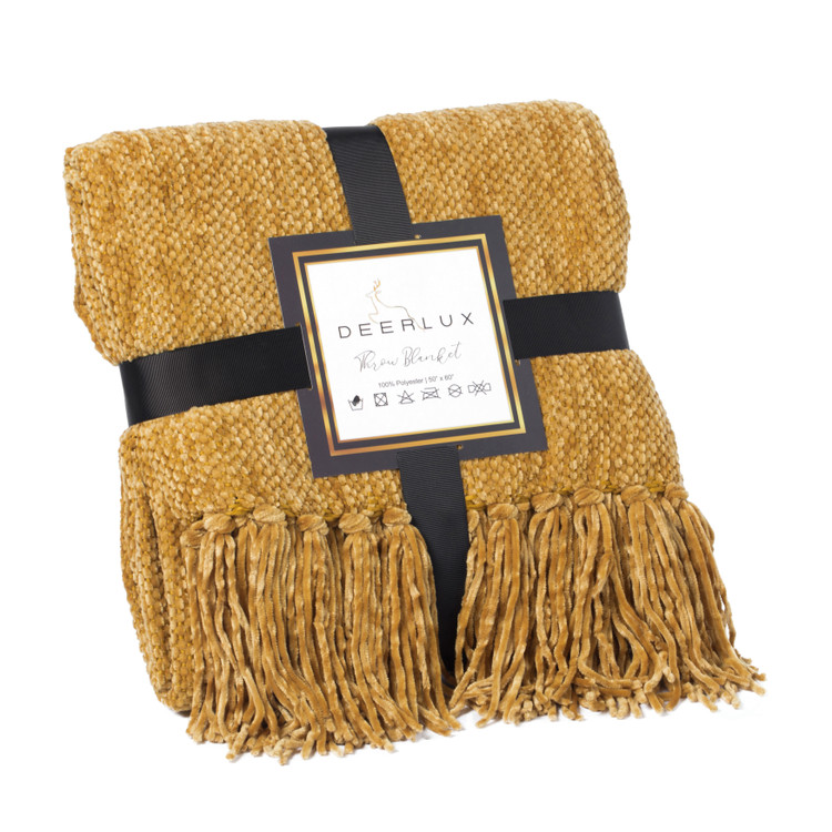 Decorative Chenille Throw Blanket with Fringe