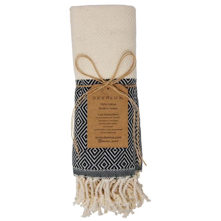 "Deerlux 100% Cotton Turkish Hand Towels, Set of 2 18"" x 40"" Diamond Peshtemal Kitchen and Bath Towels"
