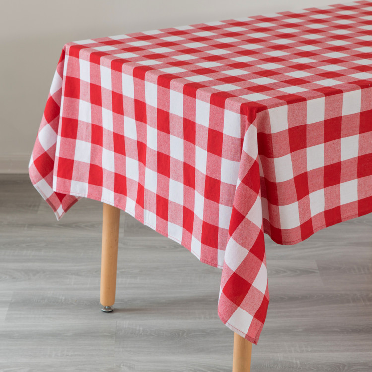 """Red and White Waterproof Plaid Checkered Gingham Outdoor Picnic Tablecloth, 55"""" x 78"""" Rectangle"""