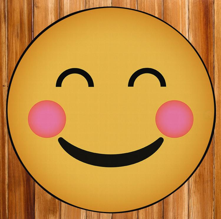 Deerlux Emoji Style Round Funny Smiley Face Kids Area Rug, Happy Emoji Rug