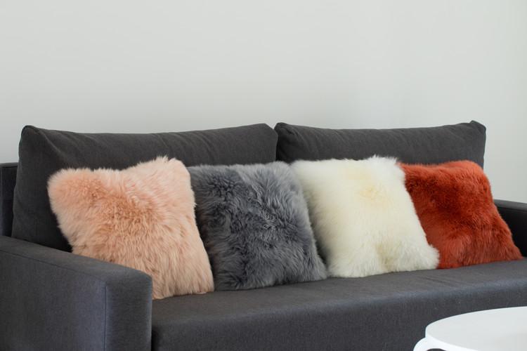 Genuine Australian Lamb Fur Sheepskin Square Pillow Cover 16 in.