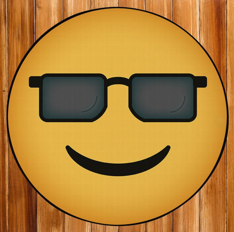 Deerlux Emoji Style Round Funny Smiley Face Kids Area Rug, Sunglasses Emoji Rug