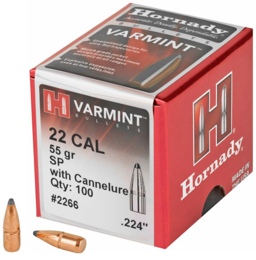 22 Caliber .224 Diameter 55 Grain Spire Point Bevel Base with Cannelure - 100 Count