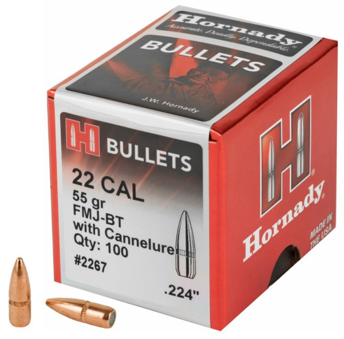 22 Caliber .224 Diameter 55 Grain FMJ Boat Tail With Cannelure - 100 Count