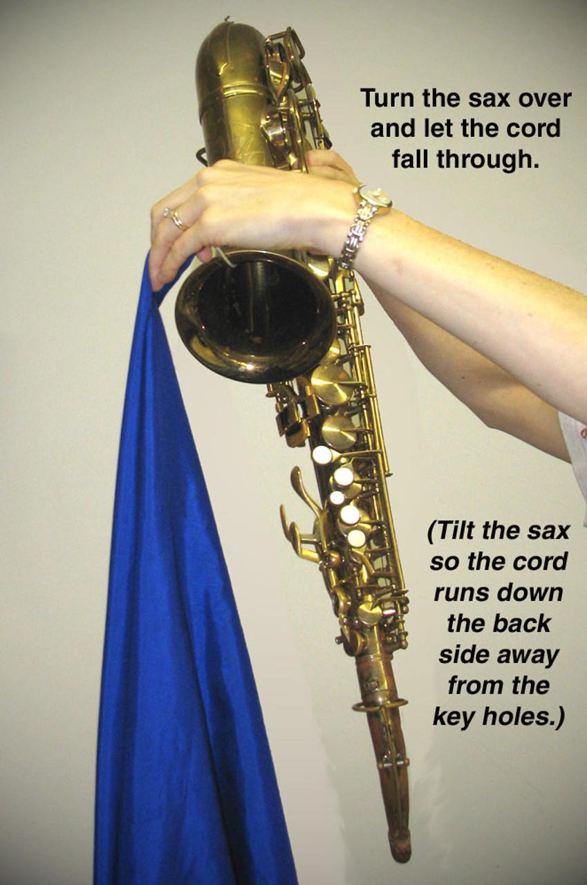 Hodge Alto Sax Silk Swab Step 3 - Let weight fall through instrument