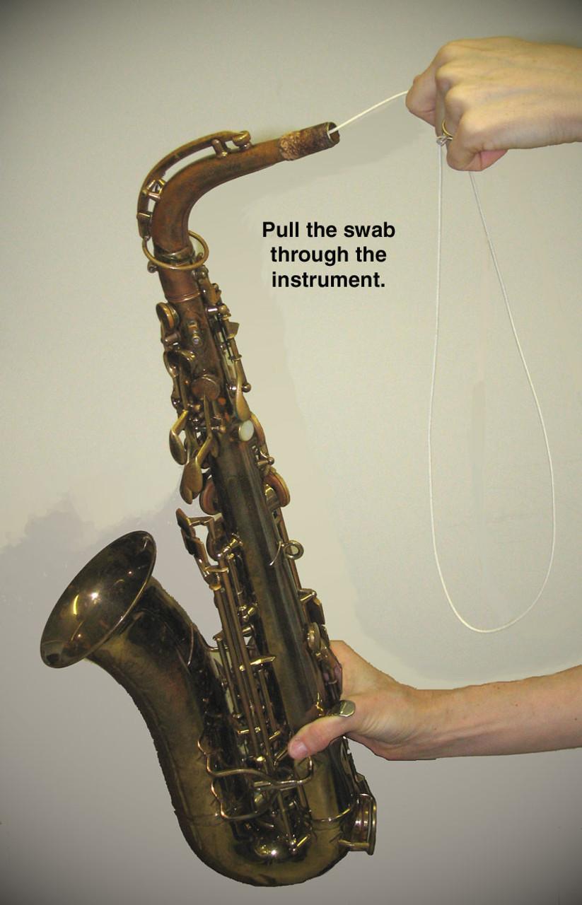 Hodge Alto Sax Silk Swab Step 5 - Pull cord and swab through instrument