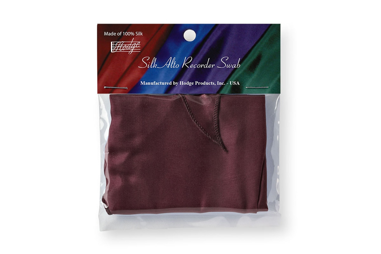 Hodge Silk Alto Recorder Swab - Burgundy