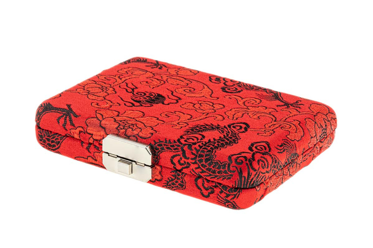 10-Reed English Horn Reed Case in Red with Black Dragon Print Silk by Oboes.ch