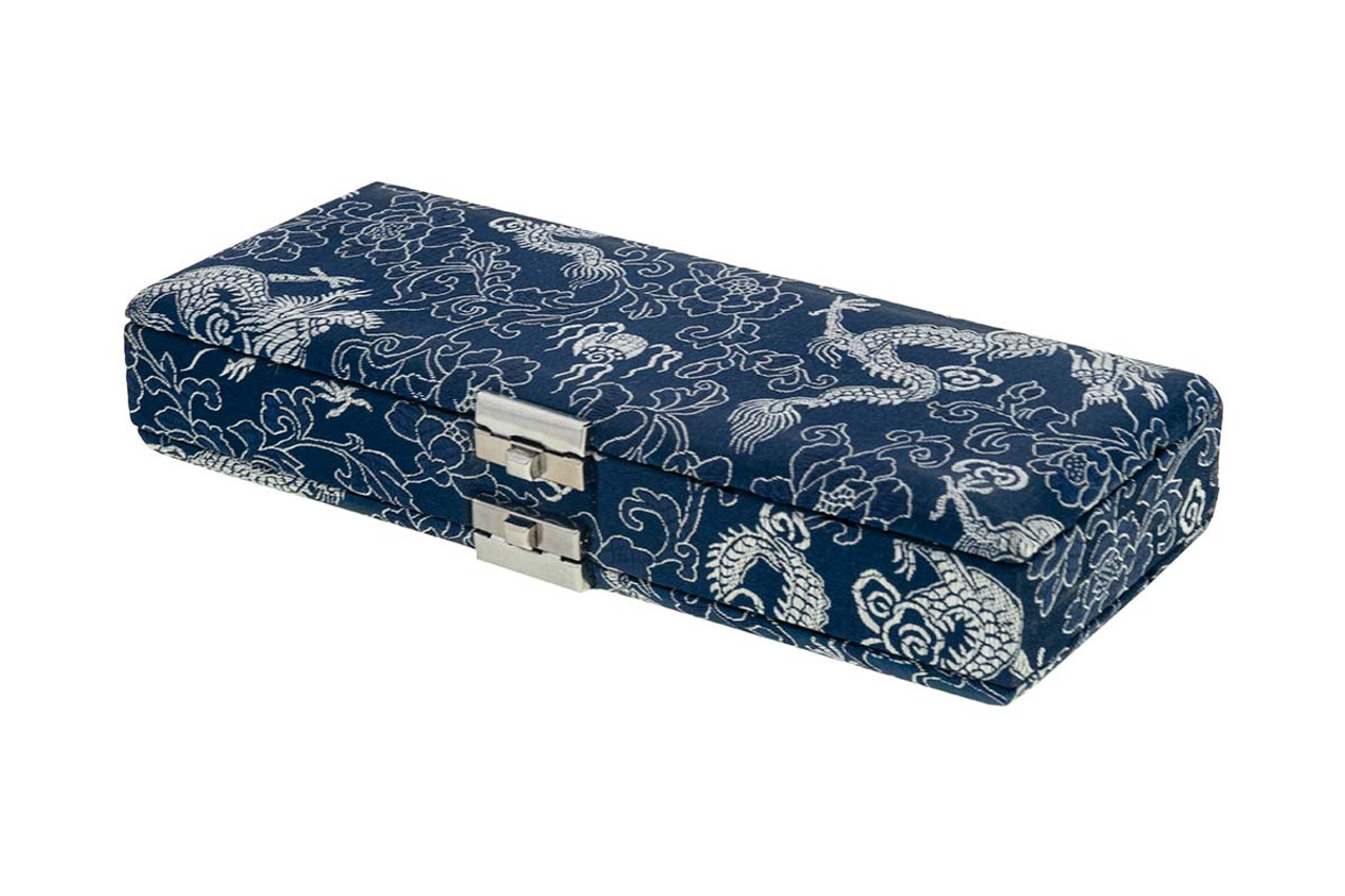 20-Reed Bassoon Reed Cases by Oboes.ch - Silk Blue with Gold Dragon Design