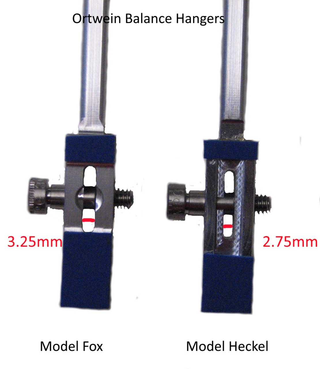 Ortwein Balance Hangers for Bassoon, receiving areas that fit around the neck strap ring have slightly different widths. Our best receiver measurements are that the Heckel hanger is 2.5-3.0mm and that the Fox hanger is 3.0-3.5mm. The indicated 2.75 and 3.25mm may not be perfectly exact.