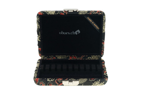 10-Reed English Horn Reed Case in Black and Gold Dragon Print Silk by Oboes.ch