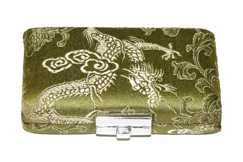4-Reed Tenor Sax Reed Case, double-sided - Green with Gold Dragon Design