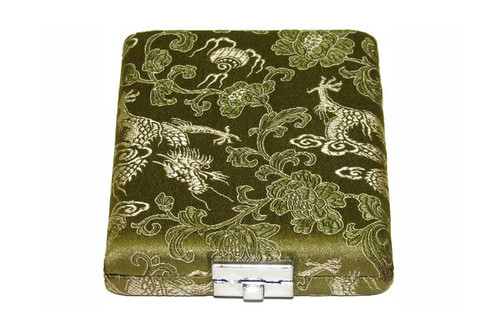 8-Reed Tenor Sax/Bass Clarinet Reed Case, silk double-sided - Green with Gold Dragon Design