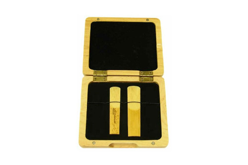 4-Reed Wood Alto Sax-Clarinet Reed Cases by Oboes.ch - Natural