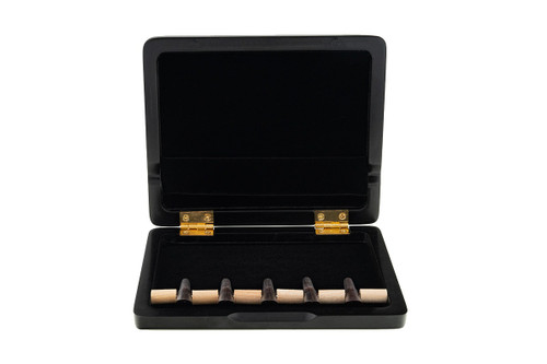 5-Reed Bassoon Reed Case with Mandrels, Wood with brown plastic mandrels