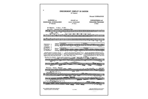 Fernand Oubradous Complete Study of the Bassoon: Part 1 – Scales & Daily Exercises for Bassoon