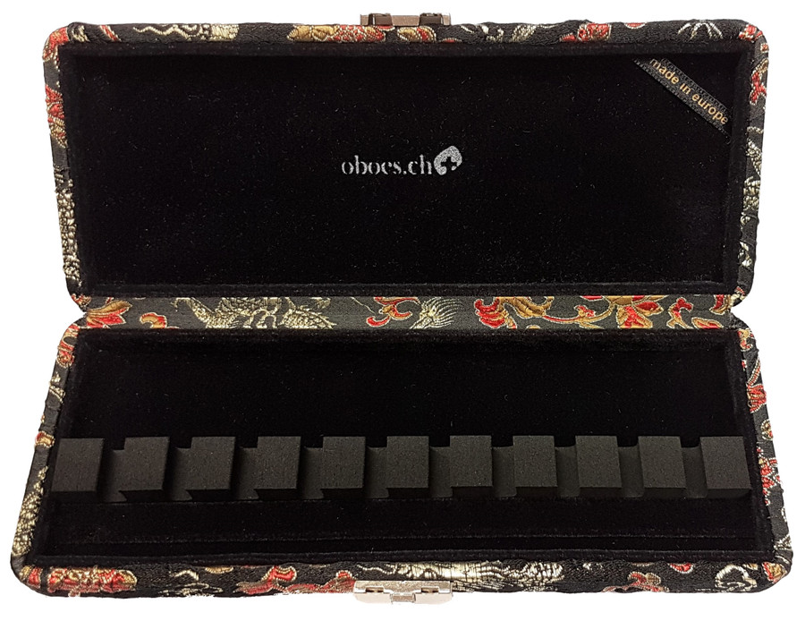 10-Reed Bassoon Reed Cases by Oboes.ch - Silk Black with Gold Dragon Design