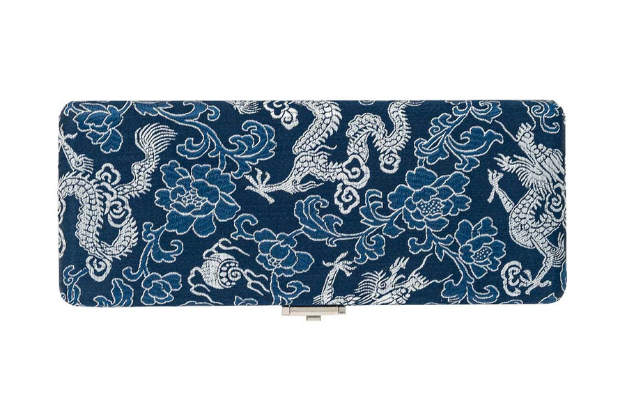 10-Reed Bassoon Reed Cases by Oboes.ch - Silk Blue with Silver Dragon Design