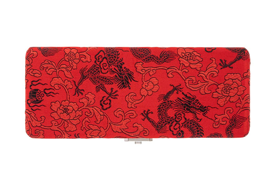 10-Reed Bassoon Reed Cases by Oboes.ch - Silk Red with Black Dragon Design