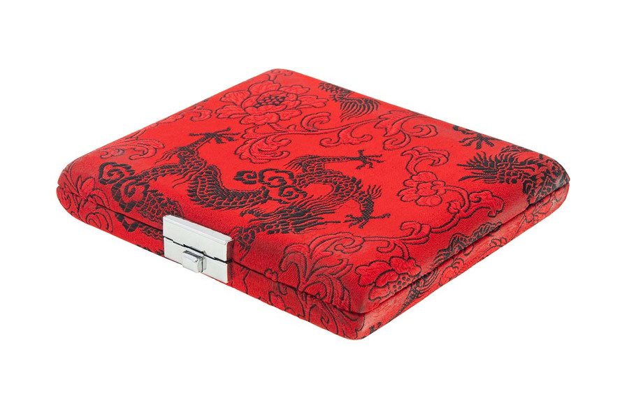 10-Reed Oboe Reed Case by Oboes.ch with clips - red with black dragon silk