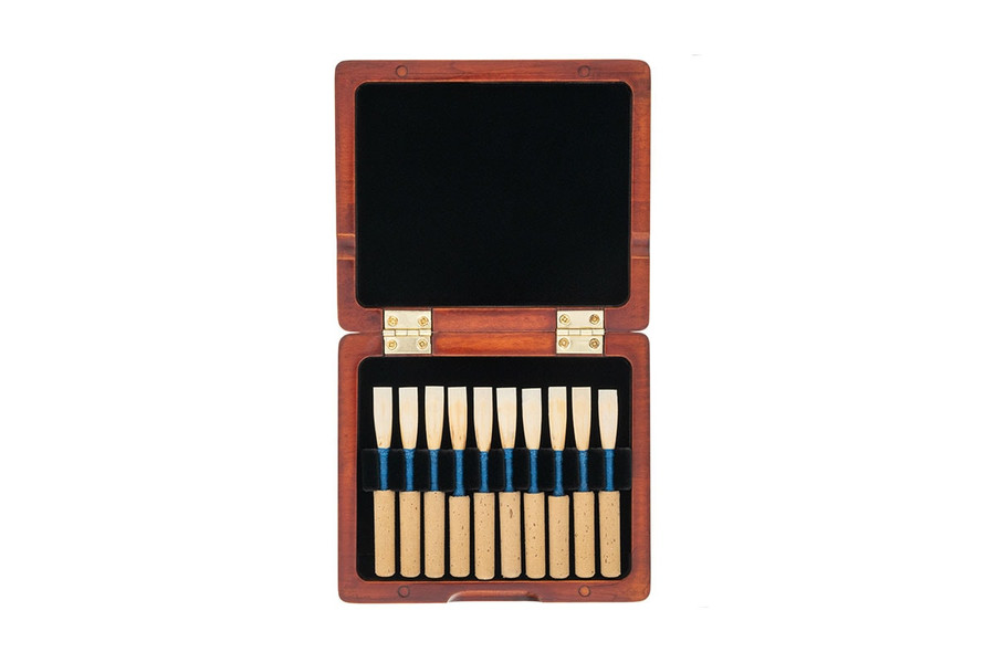 10-Reed Slimline Wood Oboe Reed Cases by Oboes.ch - stained