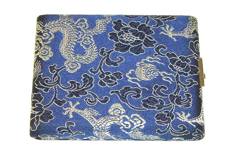 10-Reed Tenor Sax Reed Case, double-sided - Blue with Silver Dragon Design