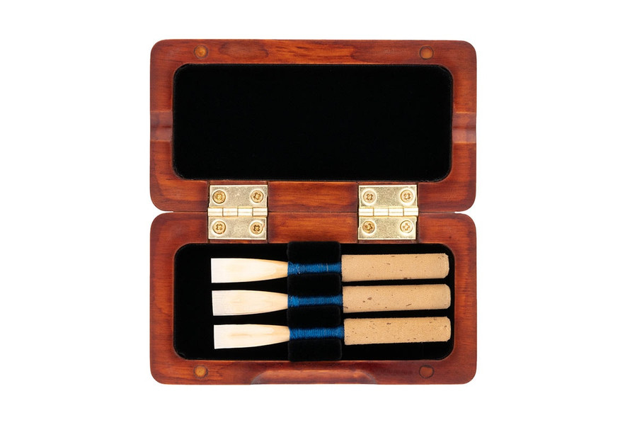 3-Reed Slimline Wood Oboe Reed Case by Oboes.ch - brown stain