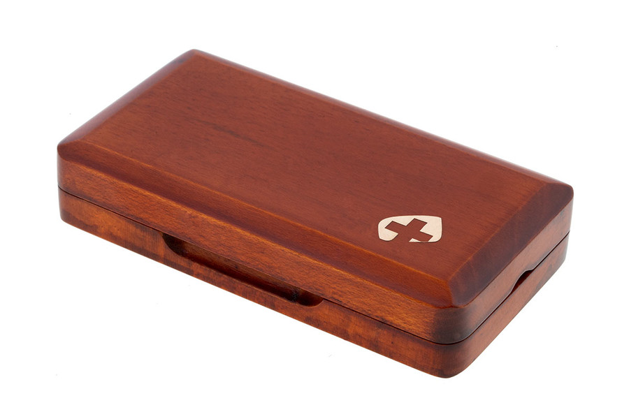 3-Reed Slimline Wood Oboe Reed Case by Oboes.ch (old logo) - brown stain