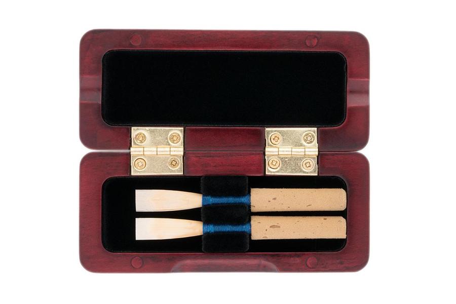 2-Reed Slimline Wood Oboe Reed Cases by Oboes.ch - Padauk
