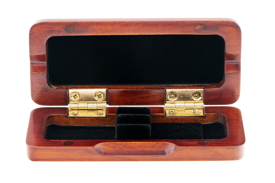 2-Reed Slimline Wood Oboe Reed Cases by Oboes.ch - brown stain