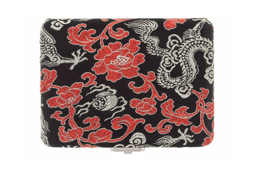 4-Reed Contrabassoon Reed Case - Silk, Black with Gold Dragon Design