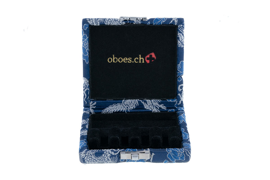 4-Reed Bassoon Reed Cases by Oboes.ch - Blue with Silver Dragon