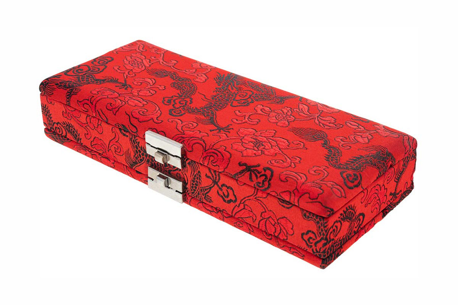 20-Reed Silk Bassoon Reed Cases by Oboes.ch - Red with Black Dragon Design