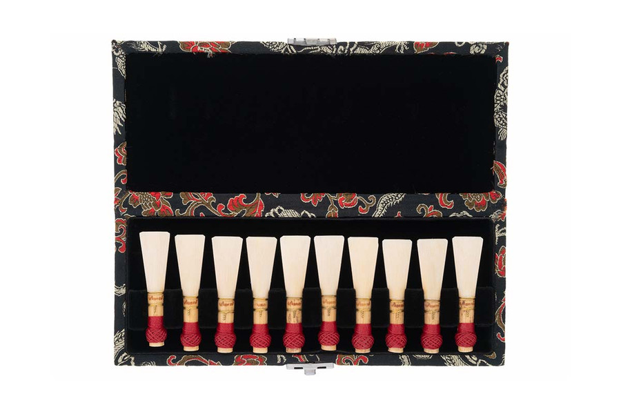 20-Reed Bassoon Reed Cases by Oboes.ch - Silk Black with Gold Dragon Design