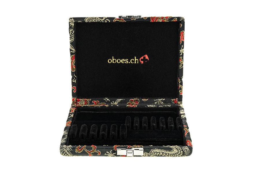 5-EH/6-Oboe Reed Cases by Oboes.ch - Black with Gold Dragon