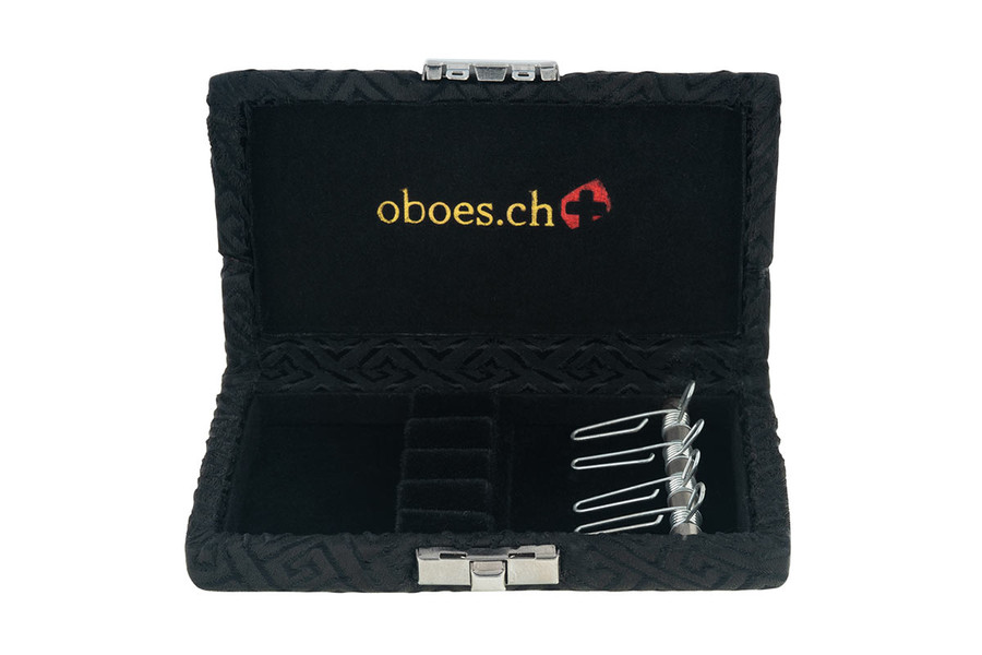 4-Reed Oboe Reed Cases with clips by Oboes.ch - Black Egyptian Design